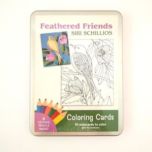 NIB Feathered Friends Coloring Artistic BIRD CARDS